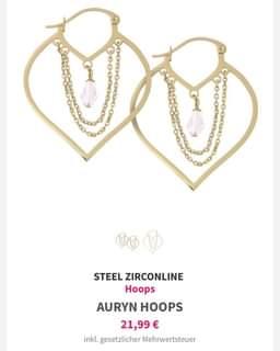 """Ist möglicherweise ein Bild von Schmuck und Text """"STEEL ZIRCONLINE Hoops AURYN AURYNHOOPS HOOPS 21,99 € inkl. gesetzlicher Mehrwertsteuer"""""""